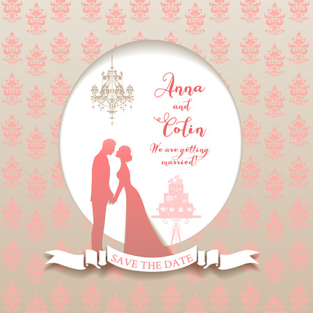 wedding reception decoration: Wedding holiday card with bride and groom. Elegant wedding design for leaflet, cards, invitation and so on. Place for text.