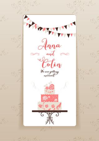 pastel de bodas: Invitaci�n de la boda con la torta. Dise�o elegante de la boda de prospecto, tarjetas, invitaci�n y as� sucesivamente. Lugar para el texto. Vectores