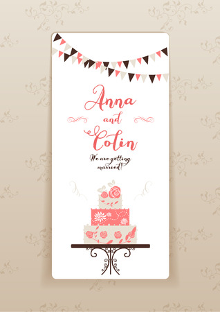 wedding reception decoration: Wedding invitation with cake. Elegant wedding design for  leaflet, cards, invitation and so on. Place for text.