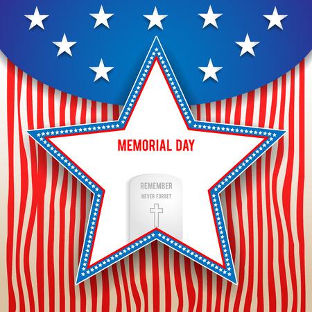 memorial cross: Diseño día Memorial en el fondo de rayas. Holiday tarjeta patriótica para el día de la Independencia, Memorial Day, día de veteranos, día Presidentes y así sucesivamente.