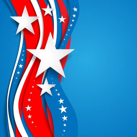 Fondo abstracto patriótico con las estrellas. Lugar para el texto. Holiday tarjeta patriótica para el día de la Independencia, Memorial Day, día de veteranos, día Presidentes y así sucesivamente. Ilustración de vector
