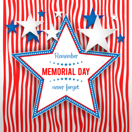 Star on striped background. Holiday patriotic card for Independence day, Memorial day, Veterans day, Presidents day and so on. 矢量图像