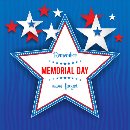 Stars on blue background with place for text.Holiday patriotic card for Independence day, Memorial day, Veterans day, Presidents day and so on. 矢量图像