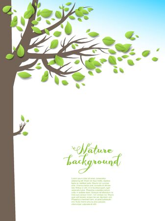 green leaves: Summer background with tree with place for text. Illustration