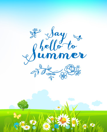 lonely tree: Beautiful summer background with flowers and a lonely tree
