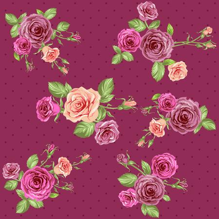 Vintage floral background. Seamless roses pattern.