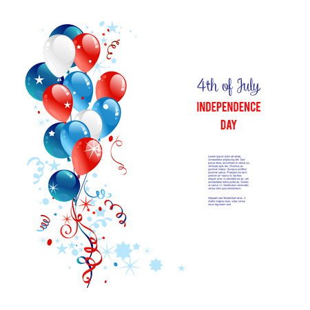 Holiday balloons. Place for text. Holiday patriotic card for Independence day, Memorial day, Veterans day, Presidents day and so on.