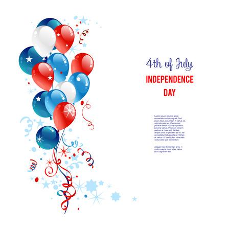 Vacances ballons. Place pour le texte. Vacances carte patriotique pour jour de l'indépendance, jour du souvenir, jour de vétérans, jour de présidents et ainsi de suite. Banque d'images - 41426303