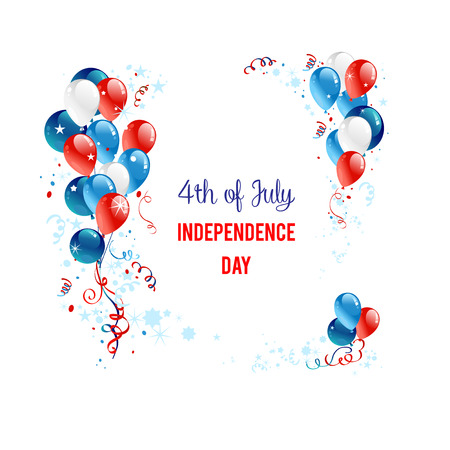 Independence day background with balloons. Holiday patriotic card for Independence day, Memorial day, Veterans day, Presidents day and so on. 矢量图像