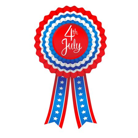 patriotic: July fourth badge. Holiday ribbon isolated on white background