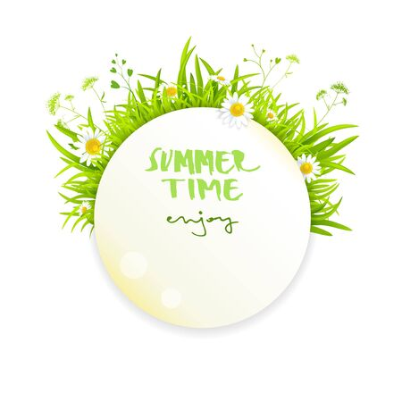 artistic background: Summer banner design for leaflet, cards, invitation. Place for text.