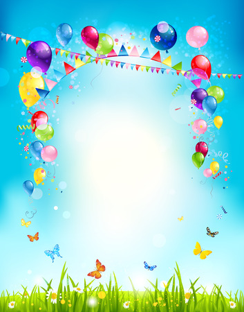 feriado: Fondo de vacaciones de verano con globos y banderas para la publicidad, folletos, tarjetas, invitación y así sucesivamente. Copie el espacio.