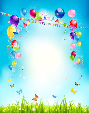 sommer: Sommerurlaub Hintergrund mit Luftballons und Flaggen für Werbung, Merkblatt, Karten, Einladung und so weiter. Kopieren Sie Platz.