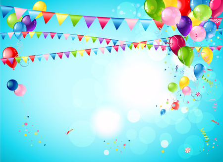 Bright festive background with balloons, flags and confetti