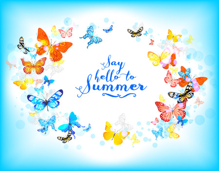 place for text: Background with beautiful butterflies with place for text. Summer illustration. Illustration