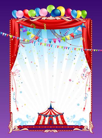 marco cumpleaños: Cartel de circo con una carpa y globos brillantes. Backgroud para la publicidad, folletos, tarjetas, invitación y así sucesivamente.