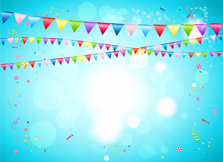 Festive background with flags for advertising, cards, invitation and so on. Stock Illustratie
