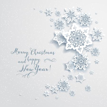 frio: Tarjeta de vacaciones de Navidad con copos de nieve. Diseño elegante para la publicidad, folletos, tarjetas, invitación y así sucesivamente. Vectores