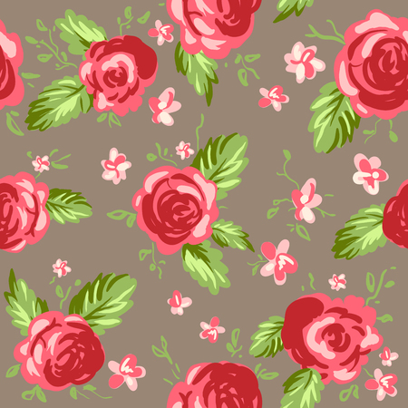 rose petals: Painted roses ornament. Seamless pattern background Illustration