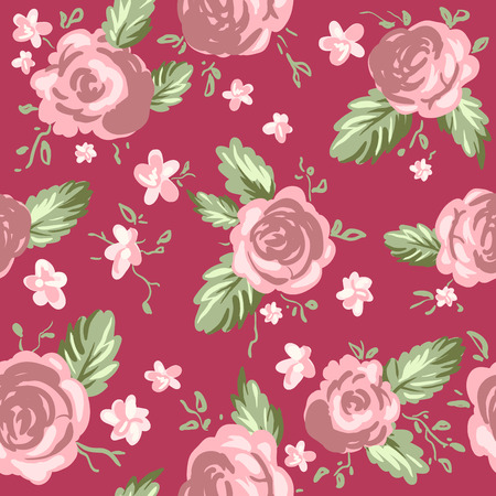 rose petals: Roses vintage seamless pattern. Painted background.