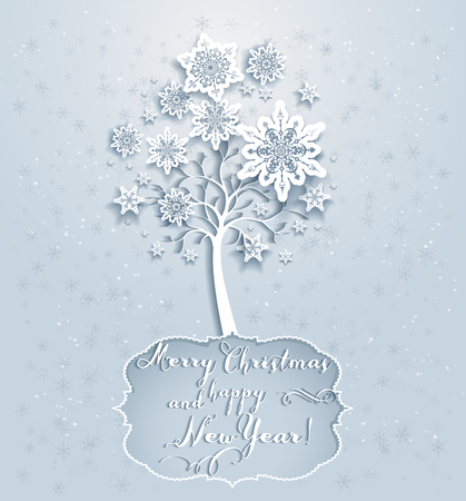 cold cuts: Ornamental holiday snowflakes tree. Elegant Christmas card