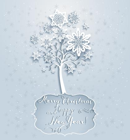 fiambres: Vacaciones ornamental snowflakes árbol. Tarjeta de Navidad elegante