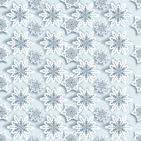 christmas paper: Winter snowflakes seamless background. Illustration