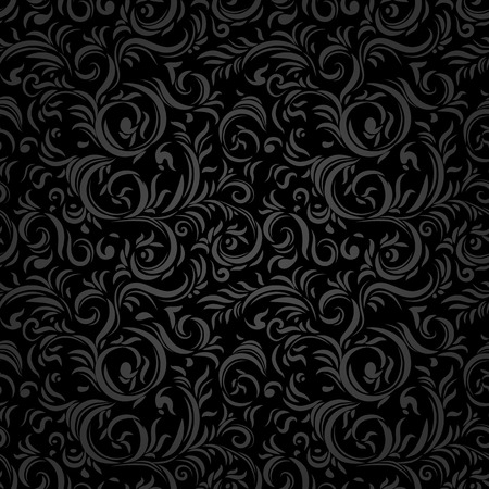 Black stylized seamless pattern. Holiday background. Ilustração