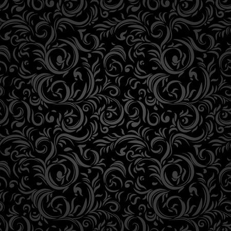 Black stylized seamless pattern. Holiday background. Illustration