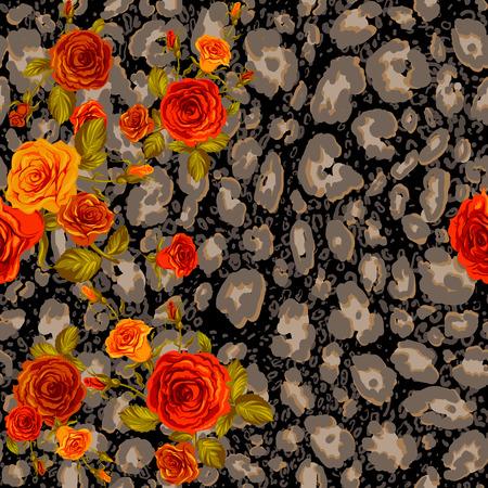 orange roses: Dark leopard skin and orange roses seamless pattern. Animal and floral background. Illustration