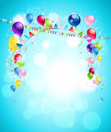 marco cumpleaños: Fondo de vacaciones feliz con globos de colores, banderas y confeti. Ilustración para la publicidad, folletos, tarjetas, invitación y así sucesivamente.