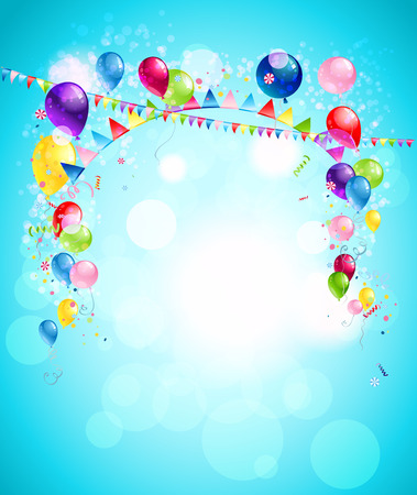 illustration for advertising: Happy holiday background with colorful balloons, flags and confetti. Illustration for advertising, leaflet, cards, invitation and so on.