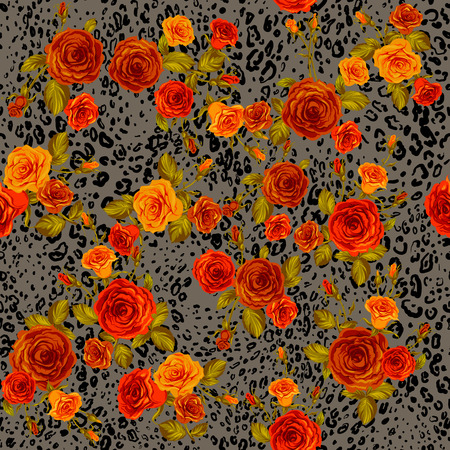 orange roses: Leopard skin and orange roses seamless pattern. Animal and floral background. Illustration