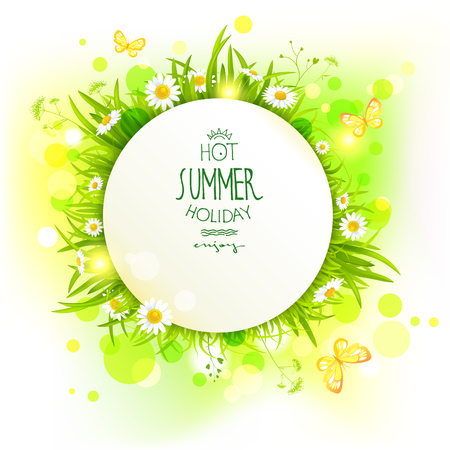 outdoor wedding: Summer frame with flowers. Place for advertising, cards, invitation and so on. Illustration
