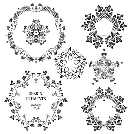 ornaments floral: Vintage floral ornaments. Floral and calligraphy round decoration for wedding or vintage holiday card. Illustration
