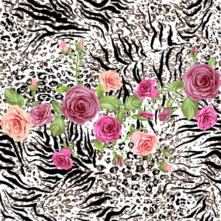 color conceal: Roses on animal skin. Fashion seamless pattern