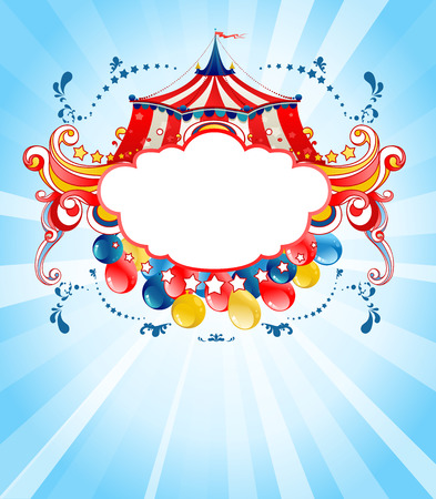 Bright circus background  for design card, banner, leaflet and so on. Ilustração