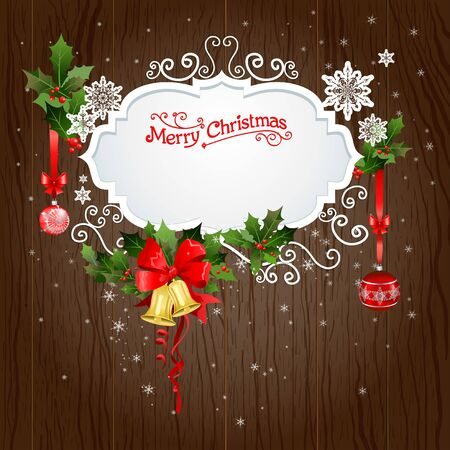 holiday background: Holiday background with christmas decoration. Festive design for card, banner, invitation, leaflet and so on.