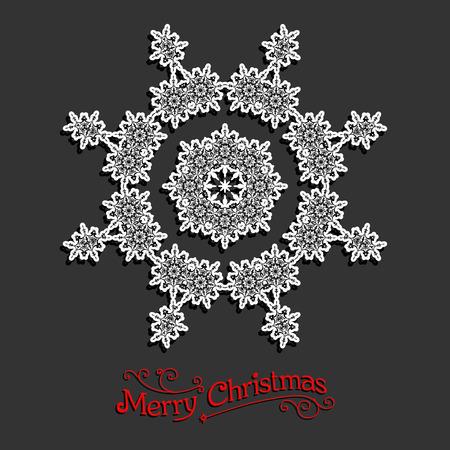 fiambres: Día de fiesta del copo de nieve blanco. Diseño de la Navidad para la tarjeta, bandera, invitación, folleto y así sucesivamente. Vectores