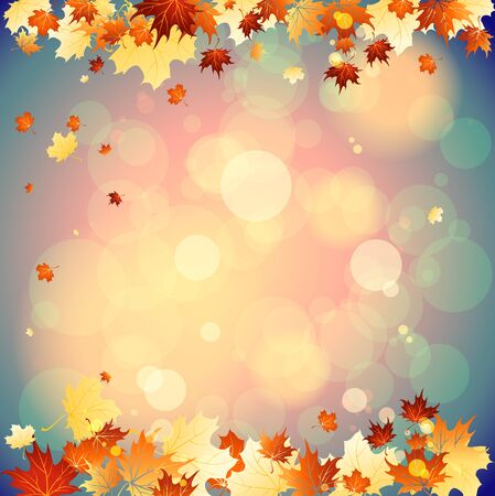 place for text: September background with falling autumn leaves. Place for text
