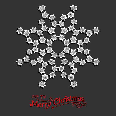 fiambres: Copo de nieve blanco. Diseño de la Navidad para la tarjeta, bandera, invitación, folleto y así sucesivamente.