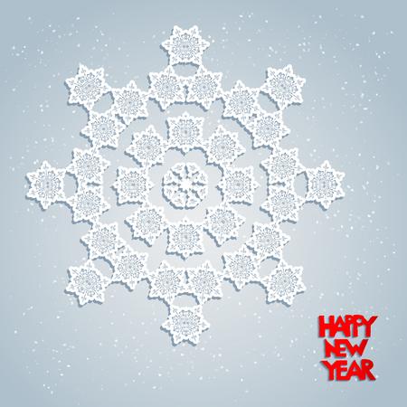 fiambres: Tarjeta festiva con los copos de nieve. Copo de nieve grande de fiesta. Diseño para la tarjeta, bandera, invitación, folleto y así sucesivamente.