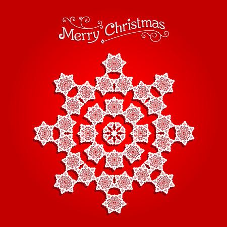 fiambres: Copo de nieve festiva sobre fondo rojo. Copo de nieve festivo. Dise�o de la Navidad para la tarjeta, bandera, invitaci�n, folleto y as� sucesivamente.