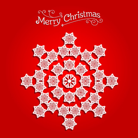 salumi affettati: Festive snowflake on red background. Festive snowflake. Christmas design for card, banner, invitation, leaflet and so on. Vettoriali