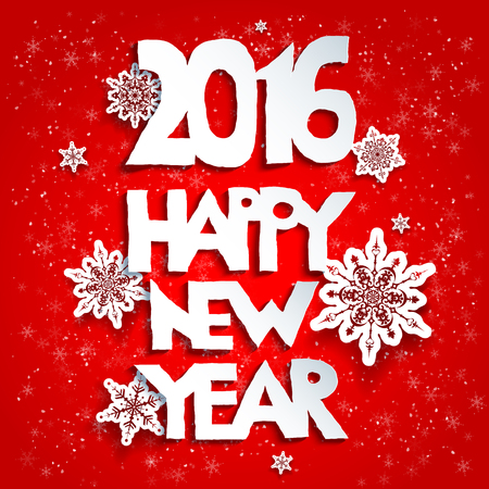 fiambres: Feliz año nuevo fondo rojo. 2016 year.Happy año nuevo. Diseño para la tarjeta, bandera, invitación, folleto y así sucesivamente. Vectores
