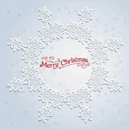 holiday season: Holiday white wreath. Big holiday snowflake. Design for card, banner, invitation, leaflet and so on.