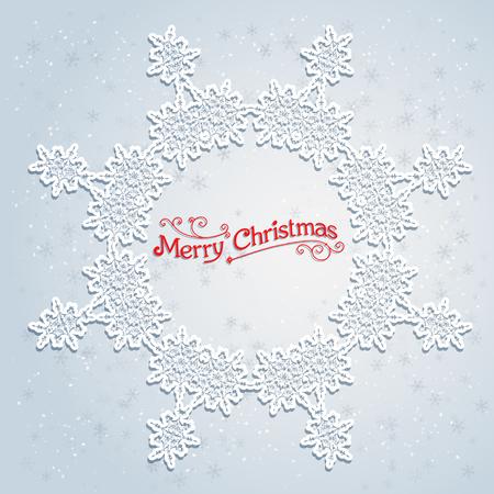 salumi affettati: Holiday white wreath. Big holiday snowflake. Design for card, banner, invitation, leaflet and so on.