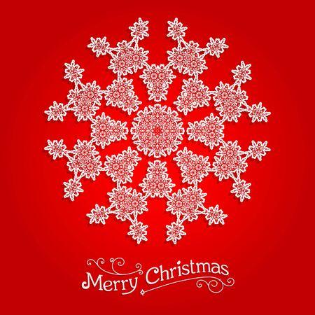 fiambres: Copo de nieve ornamental sobre fondo rojo. Copo de nieve en Big. Diseño para la tarjeta, bandera, invitación, folleto y así sucesivamente.