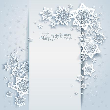 flocon de neige: Winter carte de vacances pour le web, banni�re, invitation, d�pliant et ainsi de suite. Fond de No�l avec des flocons de neige.