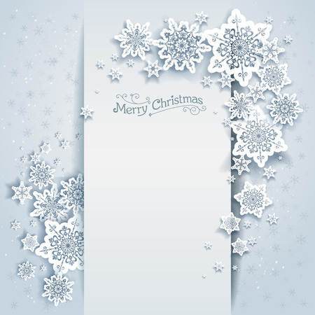 Winter holiday card for web, banner, invitation, leaflet and so on. Christmas background with snowflakes. Stock Vector - 47692507
